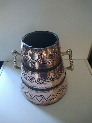 Lovely Vintage Twin Handled Copper and Brass Bound Planter
