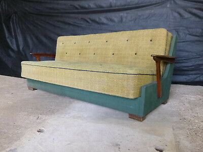 EB651 Danish Stained Beech and Yellow & Green Wool Sofa Bed Daybed Retro Vintage