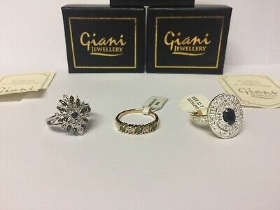 JOB LOT WHOLESALE SET OF 3 LADIES RINGS GIANI JEWELLERY AL SIZE P Boxed -
