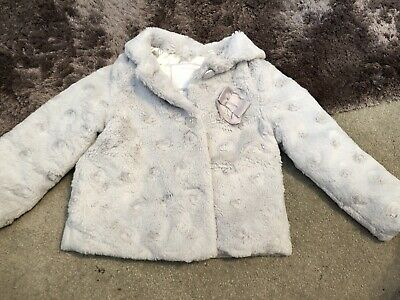 TU Girls Grey Fur Coat 2-3