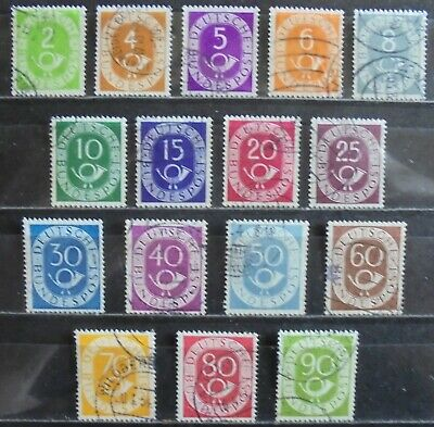 GERMANY (West) 1951-52 Posthorn & Numeral, Complete Set of 16 f/used