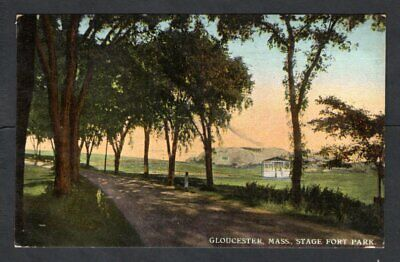 USA - 1912 Postcard Gloucester, Mass, Stage Fort Park