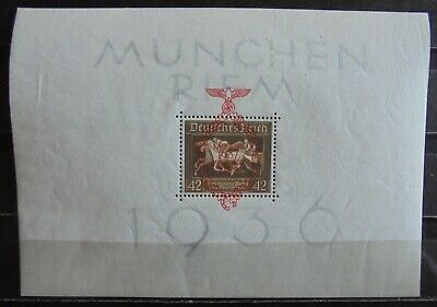 GERMAN REICH 1937 Brown Ribbon of Germany Mini-Sheet Block 10 Cancelled