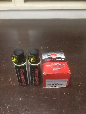 2000 x Firmahold 50mm 16 Guage Straight Brad Nails Including 2 x Gas Fuel Cells