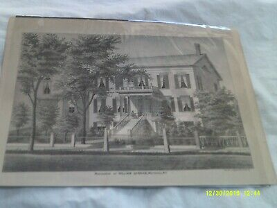Lithograph of Residence of William Hannas, Whitehall, NY