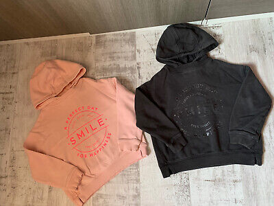 2 NEXT Girls Hoodie Sweatshirts Age 7 . Pink & Grey Vgc