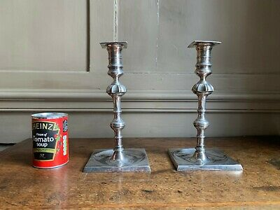Rare Pair of Large 18th Century silvered brass candlesticks probably Georgian