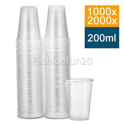 Disposable Plastic Cups Clear Reusable Drinking Water Cup Party 200ml AU