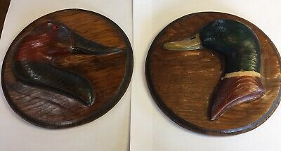 RARE PAIR Of Tom Taber Round Carved Wooden Duck Head Wall Plates