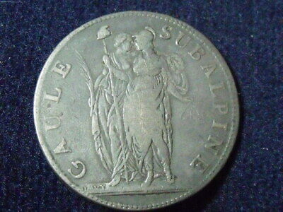 ITALIAN STATES, 5 Francs, 1801, KM #4, VF(20-25), Silver, 24.50 SUBALPINS REP.