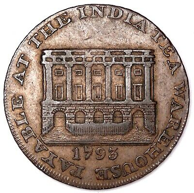 1793 India Tea House Bristol 1/2 Penny Token Coin