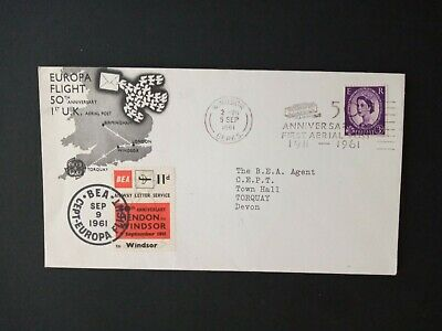 GB Stamps 1961 Europa Flight 50th. Anniversary 1st. U.K. Arial Post Cover.
