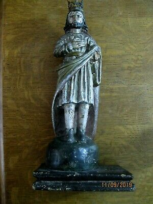Antique Carved Wood Santo In Good Condition Polichromed All Original, Crowned