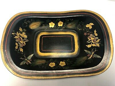 Hand Painted Antique Bronze Powder Tole Stencil Tray Bowl Red Striped Drangonfly