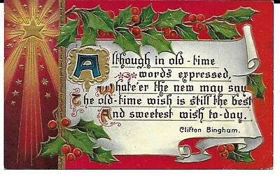 Clifton Bingham Embossed Star And Holly Antique Christmas Postcard 1912