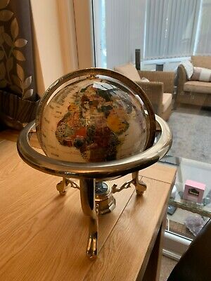 Vintage Semi Precious Stone Inlaid Globe And Compass On Guilt Stand - Collection