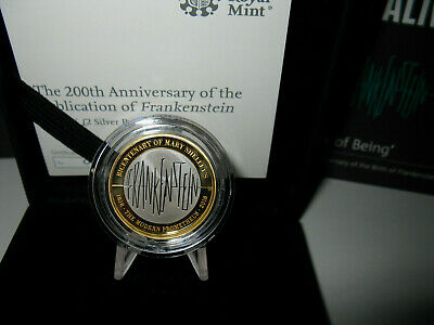 Mary Shelley's Frankenstein Silver & Gold Proof £2 Pound Coin, Box, Book & COA