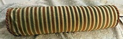 Vintage Antique Bolster Cushion Roll Pillow Stripe cut Velvet Cover only