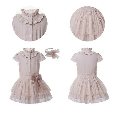 Girls Ruffled Skirt Set Lace Outfits with Turtleneck Wedding Party Summer Age 8Y