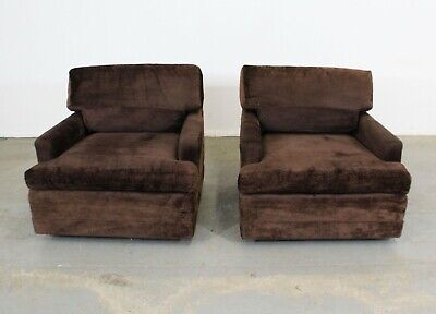 Pair of Vintage Mid-Century Modern Milo Baughman Style Lounge Club Chairs