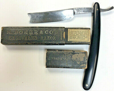 Vintage H. Boker & Co.  Straight Razor in  case with Tree Logo No. 387 Germany