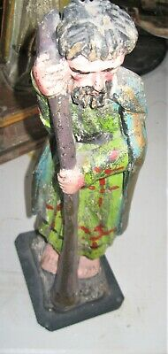 Vintage Carved Wood Santo Naive Carving Saint With Staff All Hand Painted