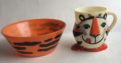 Vtg 1964 Kellogg Tony the Tiger Frosted Flakes Plastic Cereal Bowl Cup Mug