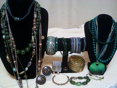 "Mixed lot of""Used""Shades of Dark Green Fashion Jewelry"