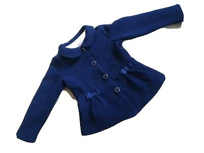 Girls Ted Baker Navy Light Coat Jacket With Front Bows 3-4 Years