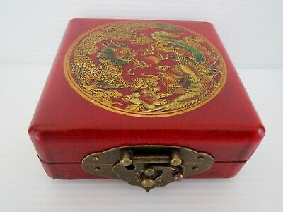 New! Chinese Compass in Hand Painted Red Laquer Wooden Box