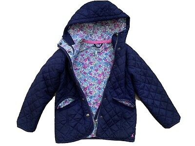 Joules Girls Navy Quilted Hooded Jacket 7