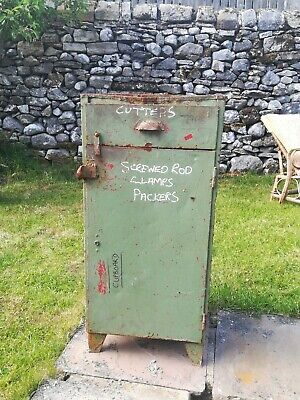 Industrial Cabinet Storage Cupboard 1950s Vintage Workshop Old Mid Century Green