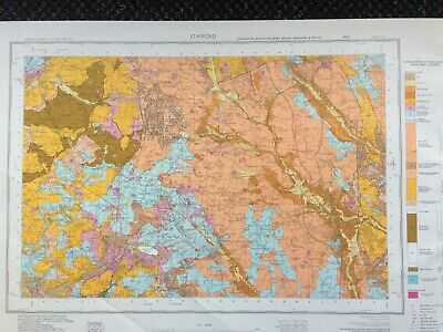 Geological Survey Map - Stafford - 1974 - Drift Geology - Lovely old map