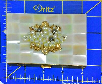 Vintage Mother Of Pearl-Rhinestone 1950'S Cigarette Case-Mint Condition