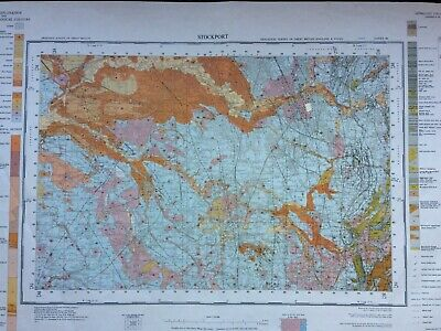 Geological Survey Map - Stockport - 1962 - Drift Geology - Lovely old map