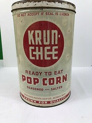 Krun Chee POP CORN TIN Painted Metal Rare