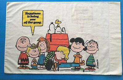 Vintage Snoopy Charlie Brown Peanuts Happiness 3pc Twin Sheet Set 1971~ Sears