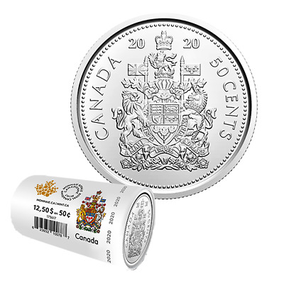 2020 Canada 50 cents coin Roll Special New Issue, Coat of Arms, UNC, 2020