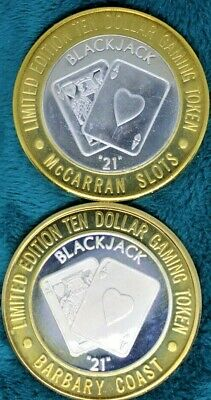 "Lot Of 2 Blackjack ""21"" Frosted & Polished $10 Silver Strikes, .999 Fine Silver"