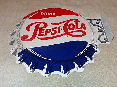 "Vintage Drink Pepsi Cola Diecut 14"" Metal Soda Pop Gasoline Oil Flange Sign M173"