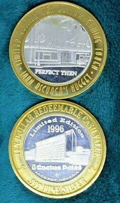 Lot Of Two 'Casino Facade' Themed .999 Fine Silver $10 Strikes Gaming Tokens