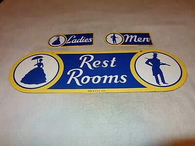 Vintage Sunoco Rest Room Double Sided Porcelain Metal Gasoline Oil Bathroom Sign