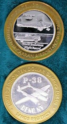 Lot Of Two 'Aircraft', P-38 & Cessna .999 Fine Silver $10 Strikes Gaming Tokens