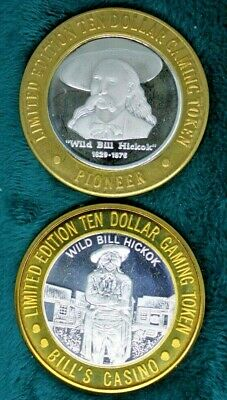 "Lot Of Two ""Wild Bill Hickok"" Themed .999 Fine Silver $10 Strikes Gaming Tokens"