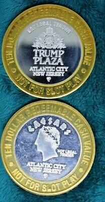 "TRUMP PLAZA and CAESARS ""STATE SEAL"" .999 FINE SILVER $10 STRIKES GAMING TOKENS"