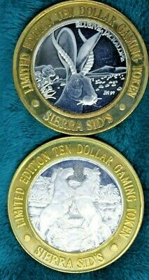 Lot Of 2 Sierra Sids Twenty Five Years $10 Strike .999 Fine Silver Gaming Tokens