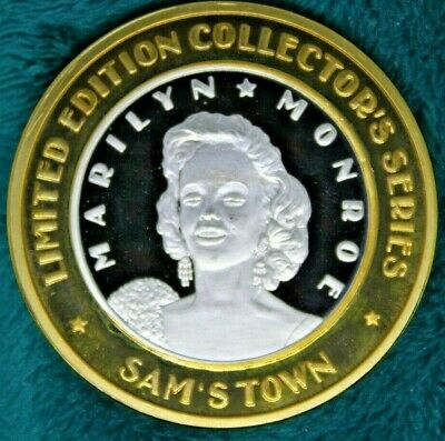 'MARILYN MONROE with DIAMOND EARRINGS' SAM'S TOWN  .999 FINE SILVER $10 STRIKE