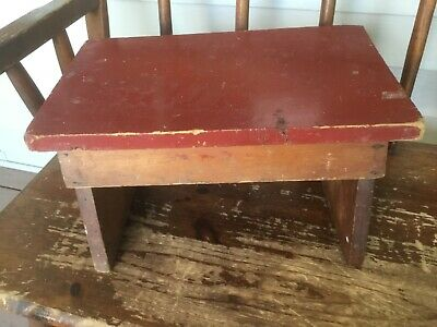Vintage CHIPPY red painted WOODEN STOOL 16 x 10 x 8 handmade country primitive