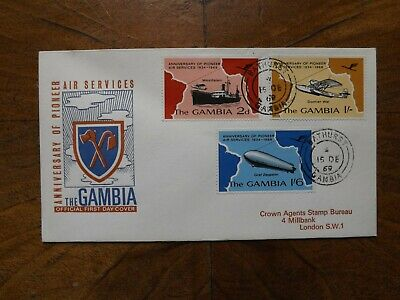 Gambia Stamps First Day Cover Air Services Set Zeppelin 1969.