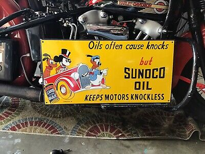 VINTAGE PORCELAIN 39 SUNOCO OIL SIGN Disney Mickey Mouse Donald Duck Pluto 1939